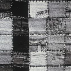 Teplákovina  DENIM kostky černobílé -270 gsm