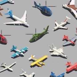 Letadla barevná na šedé -sublimační digitální tisk