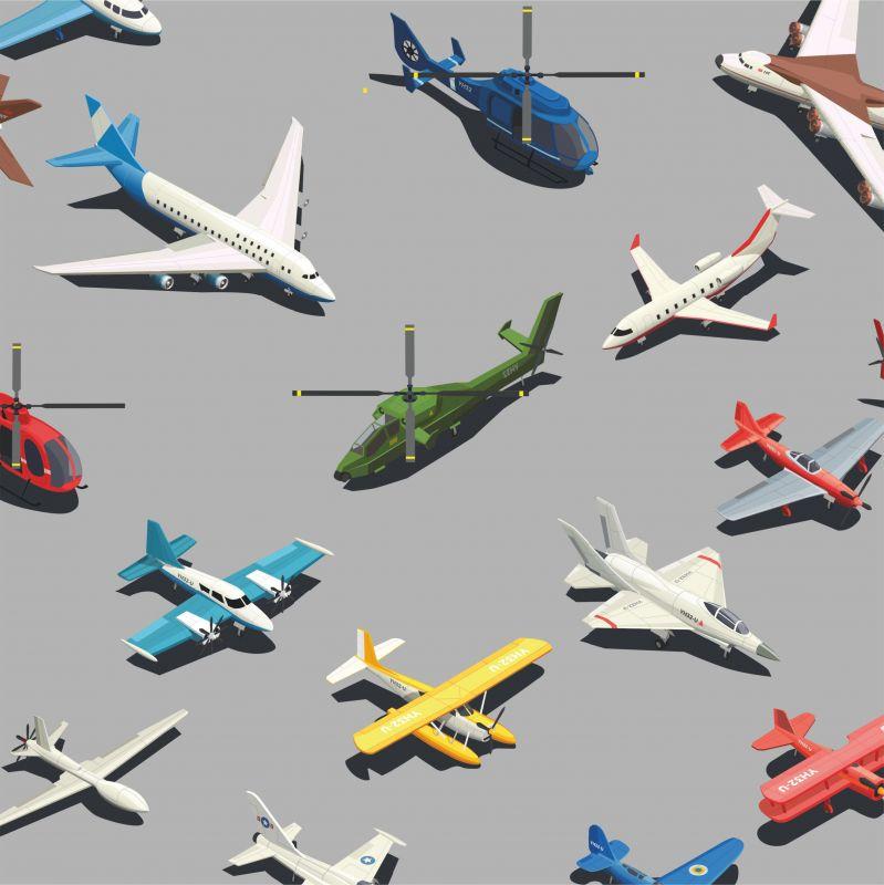Letadla barevná na šedé -sublimační digitální tisk mavaga design