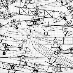 Letadla nákresy černá-sublimační digitální tisk