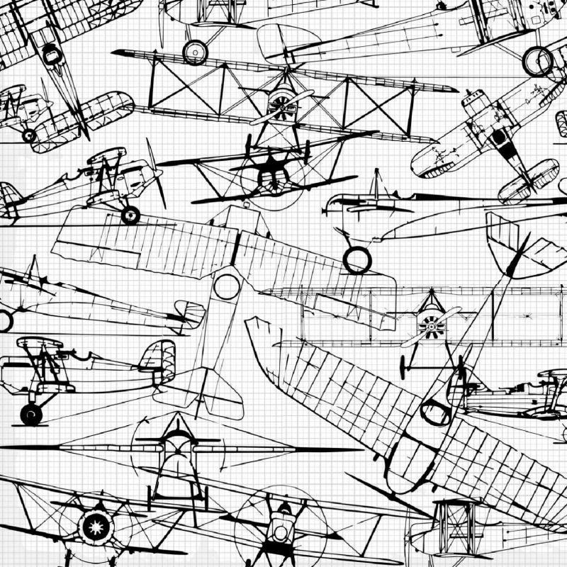 Letadla nákresy černá-sublimační digitální tisk mavaga design