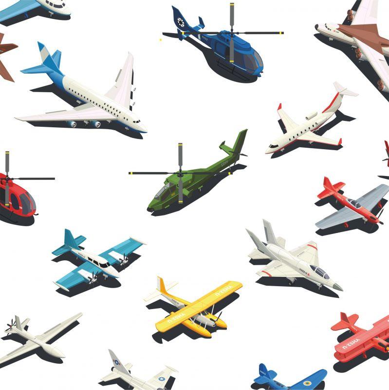 Letadla barevná na bílé-sublimační digitální tisk mavaga design