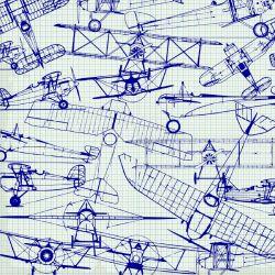 Letadla nákresy modrá-sublimační digitální tisk