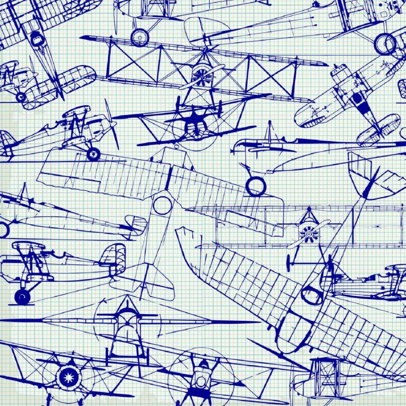 Letadla nákresy modrá-sublimační digitální tisk mavaga design