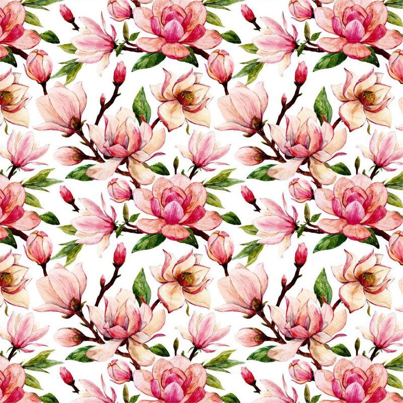 Magnolie na bílé-sublimační digitální tisk mavaga design