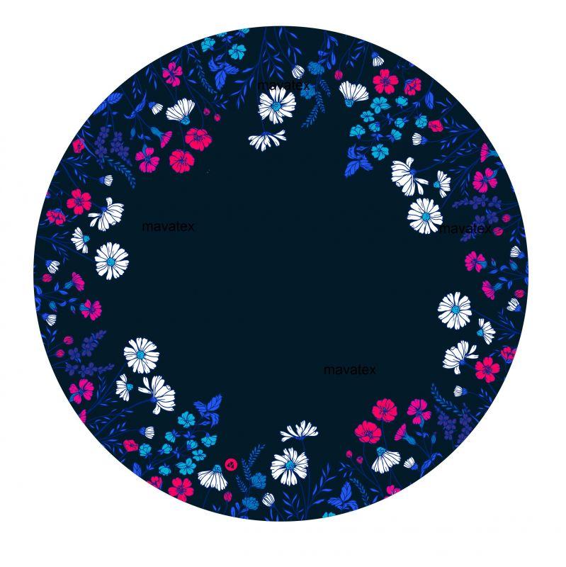 Panel na kolovou sukni 7 - květy na modré-varianty mavaga design