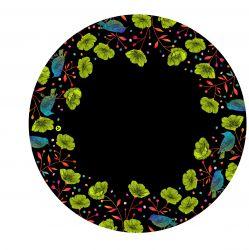 Panel na kolovou sukni 8 - květy na černé-varianty