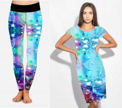 PANEL na šaty / triko/leginy –duhové kapky vody- varianty mavaga design
