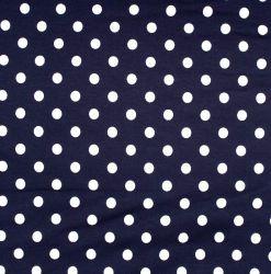 Teplákovina tmavě modrá s bílými puntíky EU-úplety atest pro děti