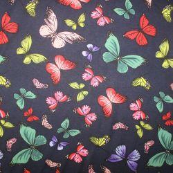 Viskóza jednolícní úplet motýlkové na modré