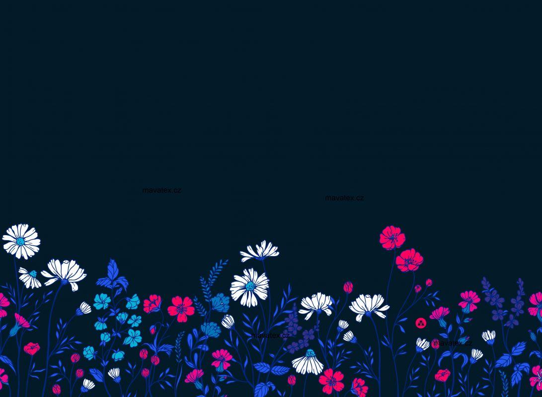 PANEL NA LEGINY /TRIKO –malované květy na modré- varianty mavaga design
