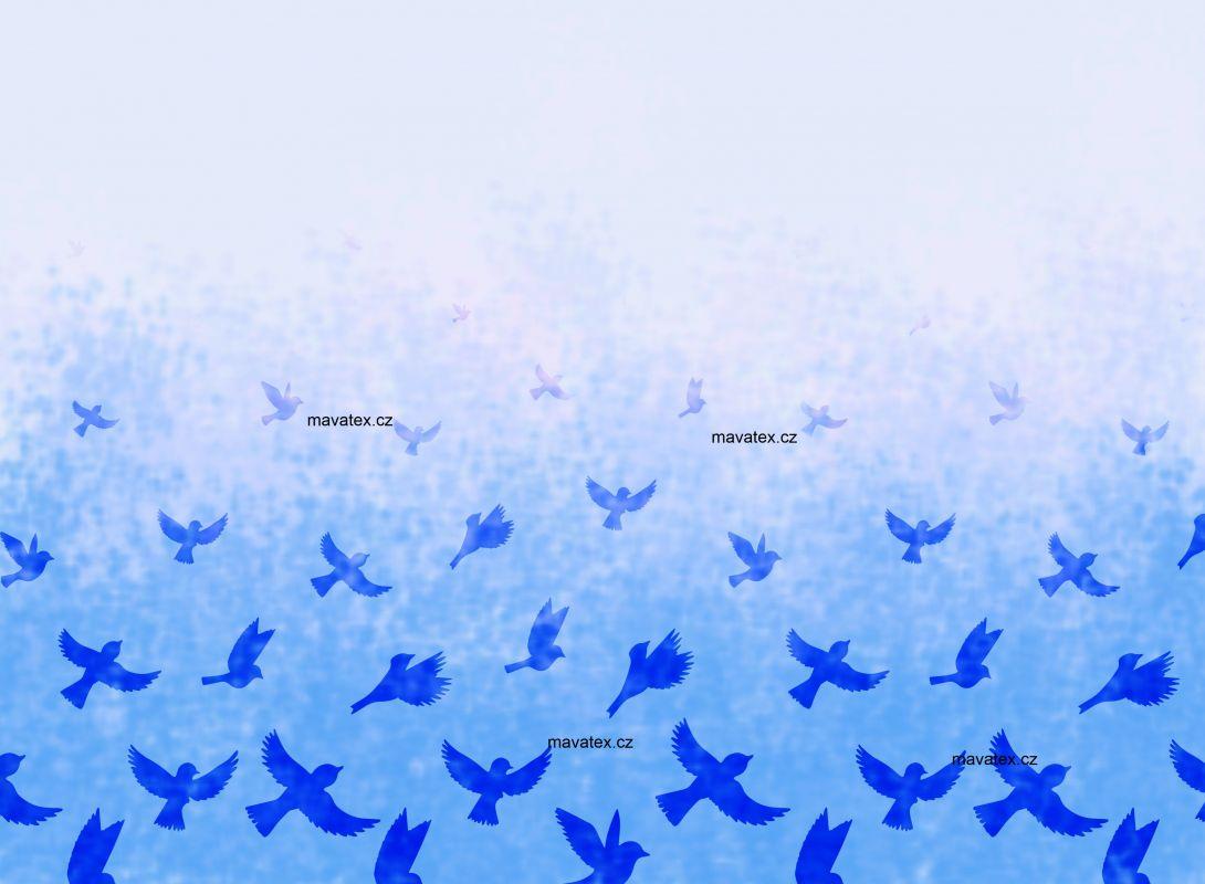 PANEL NA LEGINY /TRIKO – ptáčkové modrá- varianty mavaga design