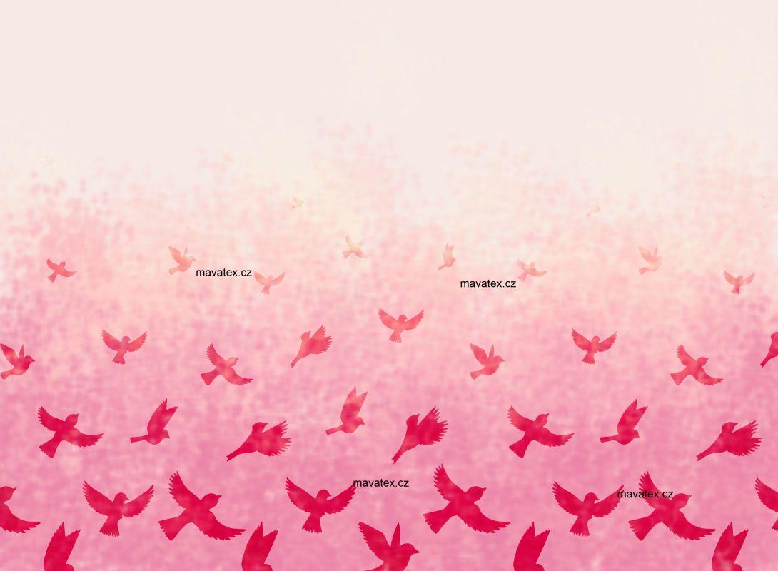 PANEL NA LEGINY /TRIKO – ptáčkové růžová- varianty mavaga design