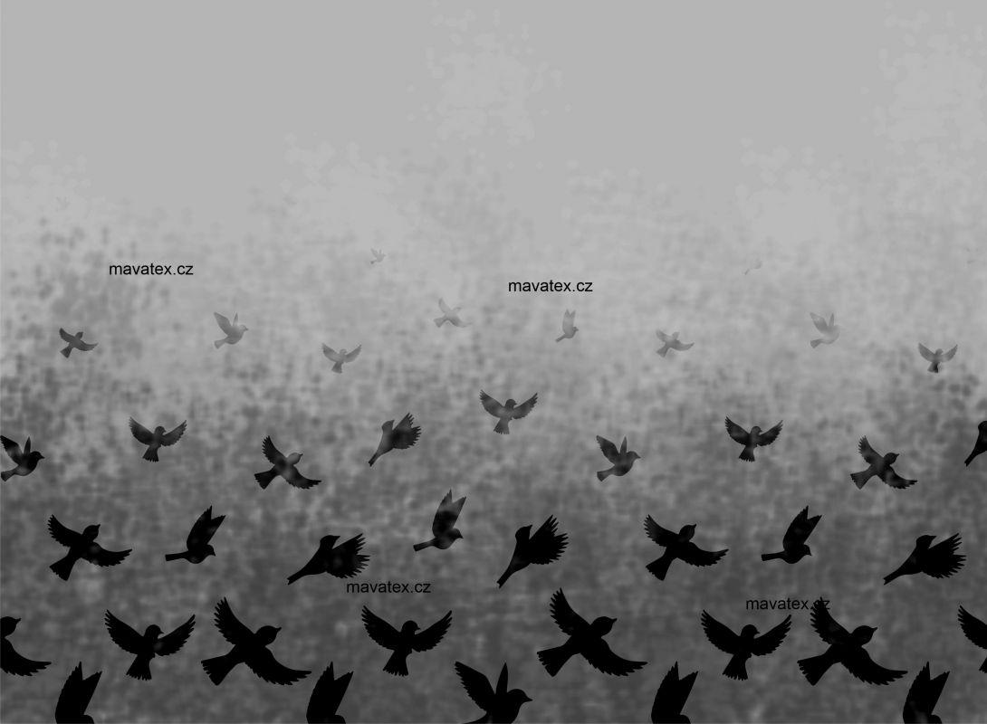 PANEL NA LEGINY /TRIKO – ptáčkové šedá- varianty mavaga design