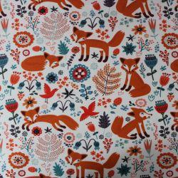 Teplákovina bílá s liškami - 270 gsm EU-úplety atest pro děti