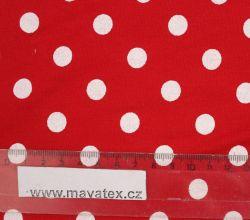 Teplákovina červená s bílými puntíky EU-úplety atest pro děti