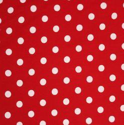 Teplákovina červená s bílými puntíky