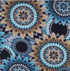 Viskóza jednolícní úplet modré mandaly