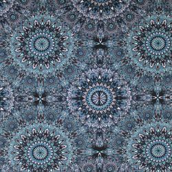 Teplákovina modro-černé mandaly- 270 gsm