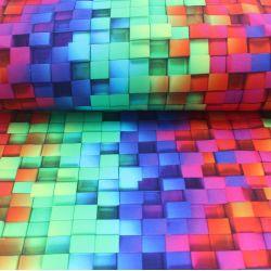 Teplákovina 3D kostky - 270 gsm EU-úplety atest pro děti