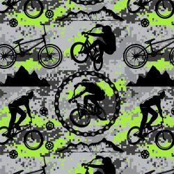 Jednolícní úplet cyklistika lime - 220 gsm
