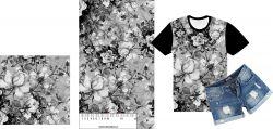 Akvarelové růžičky podkreslené černobílé-sublimační digitální tisk mavaga design