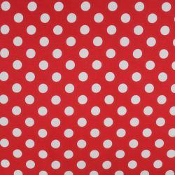 Jednolícní úplet červený s bílými puntíky 1,5 cm