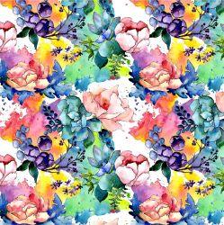 Akvarelové květy barevné -sublimační digitální tisk | DOLOMITY, Funkční úplet TORINO 140 gsm, GARZATO 200gsm- funkční úplet počesaný, Kočárkovina , LYCRA 200, Micropeach, Softshell jarní 285 gsm, Softshell letní pružný 220gsm, Softshell zimní 320 gsm, SILKY