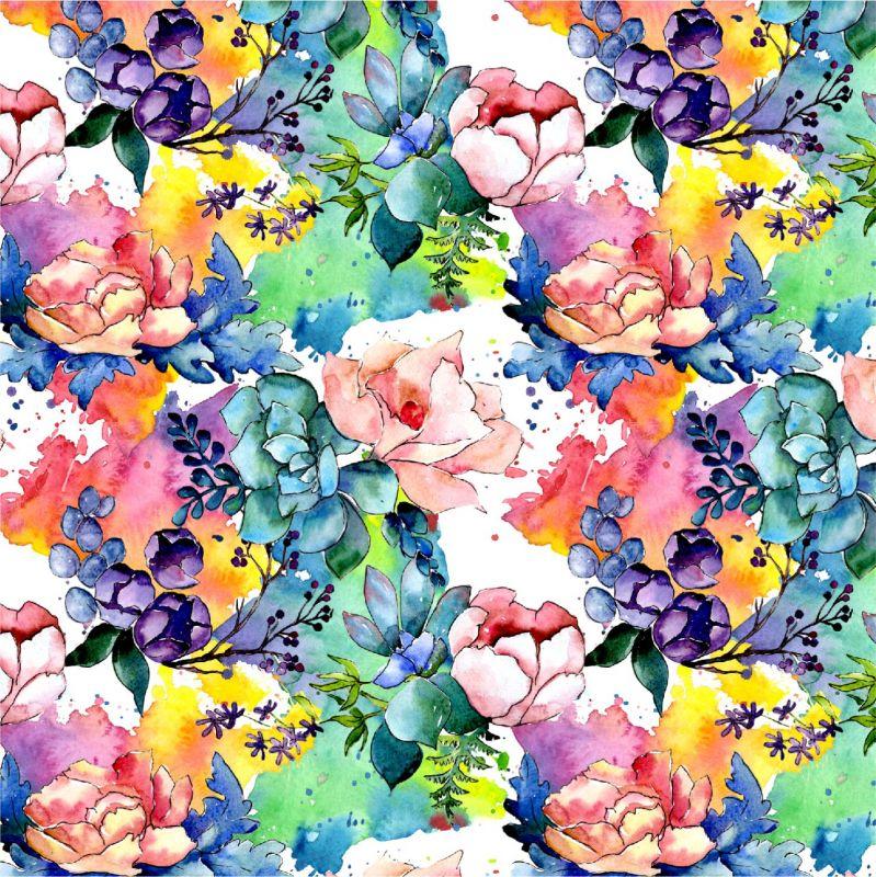 Akvarelové květy barevné -sublimační digitální tisk mavaga design