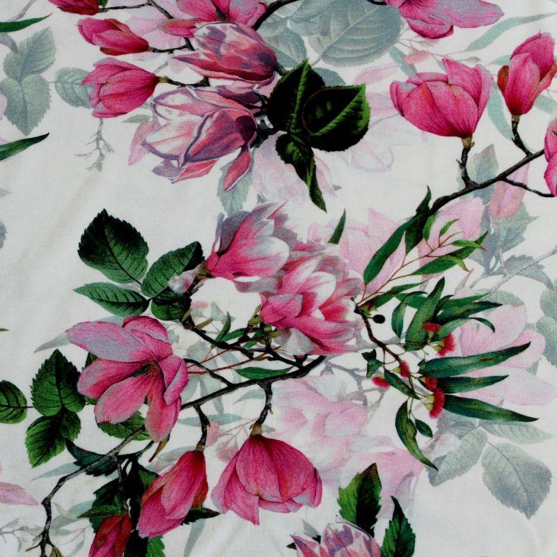 Jednolícní úplet magnolie na bílé -180 gsm EU-úplety atest pro děti