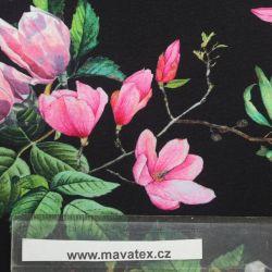 Jednolícní úplet magnolie na černé -180 gsm EU-úplety atest pro děti