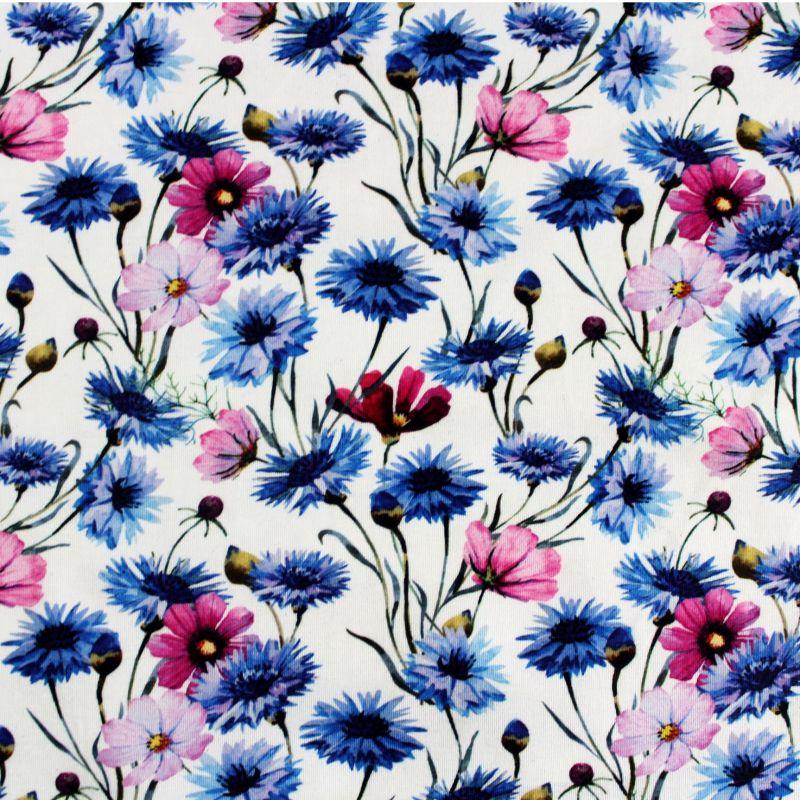 Jednolícní úplet bílý chrpy a fialové květy -220 gsm EU-úplety atest pro děti