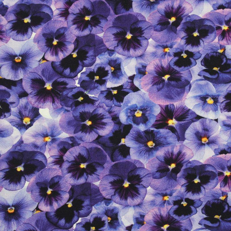 Jednolícní úplet fialové macešky -180 gsm EU-úplety atest pro děti