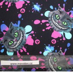 Jednolícní úplet kočka Šklíba s růžovou- digitální tisk EU-úplety atest pro děti