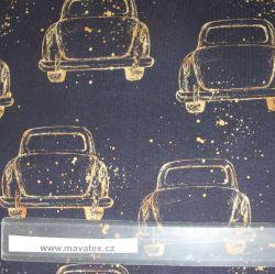 Jednolícní úplet zlatá autíčka na černé -200 gsm EU-úplety atest pro děti