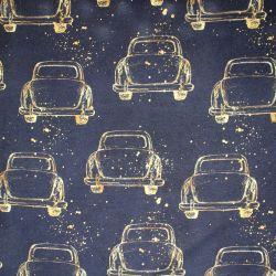 Jednolícní úplet zlatá autíčka na černé -200 gsm