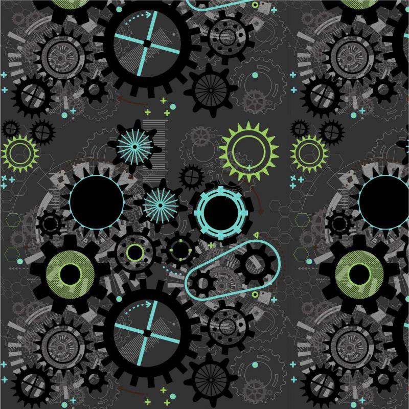 Ozubená kola na šedé-sublimační digitální tisk mavaga design