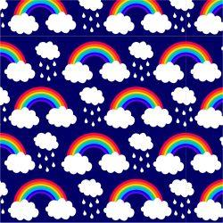 Duha a mráčky na tmavě modré-sublimační digitální tisk | DOLOMITY, Funkční úplet TORINO 140 gsm, GARZATO 200gsm- funkční úplet počesaný, Kočárkovina , LYCRA 200, Micropeach, Softshell jarní 285 gsm, Softshell letní pružný 220gsm, Softshell zimní 320 gsm