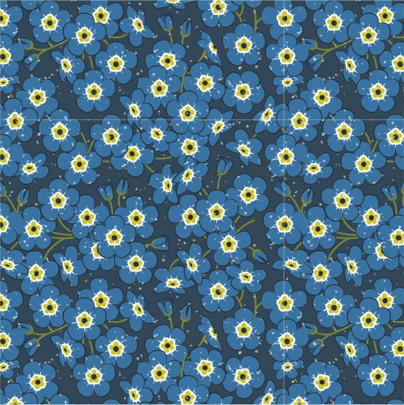 Drobné modré kvítky-sublimační digitální tisk mavaga design