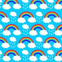 Duha a mráčky na modré-sublimační digitální tisk | Funkční úplet TORINO 140 gsm, GARZATO 200gsm- funkční úplet počesaný, Kočárkovina , LYCRA 200, Micropeach, Softshell jarní 285 gsm, Softshell letní pružný 220gsm, Softshell zimní 320 gsm
