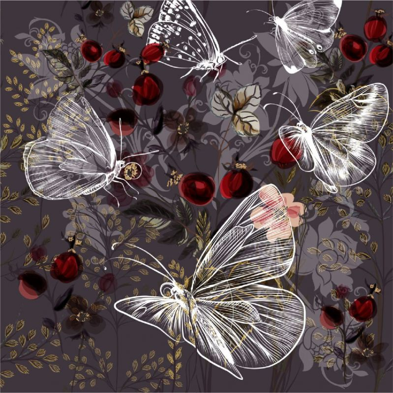Motýlkové a šípky na hnědé-sublimační digitální tisk mavaga design