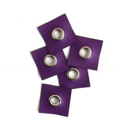 Koženkový čtvereček s průchodkou -fialová