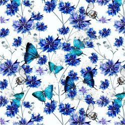 Modrý motýlkové s chrpami-sublimační digitální tisk | DOLOMITY, Funkční úplet TORINO 140 gsm, GARZATO 200gsm- funkční úplet počesaný, Kočárkovina , LYCRA 200, Micropeach, Softshell jarní 285 gsm, Softshell letní pružný 220gsm, Softshell zimní 320 gsm, SILKY