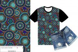 Mandaly barevné do modra-sublimační digitální tisk mavaga design