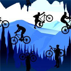 Cyklista na horách-sublimační digitální tisk