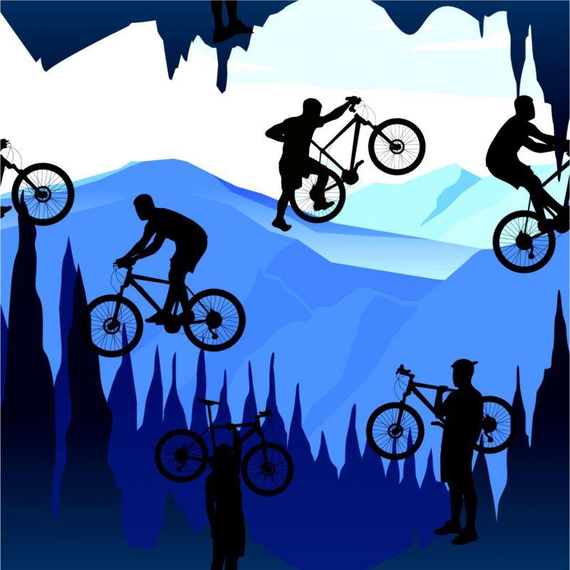 Cyklista na horách-sublimační digitální tisk mavaga design