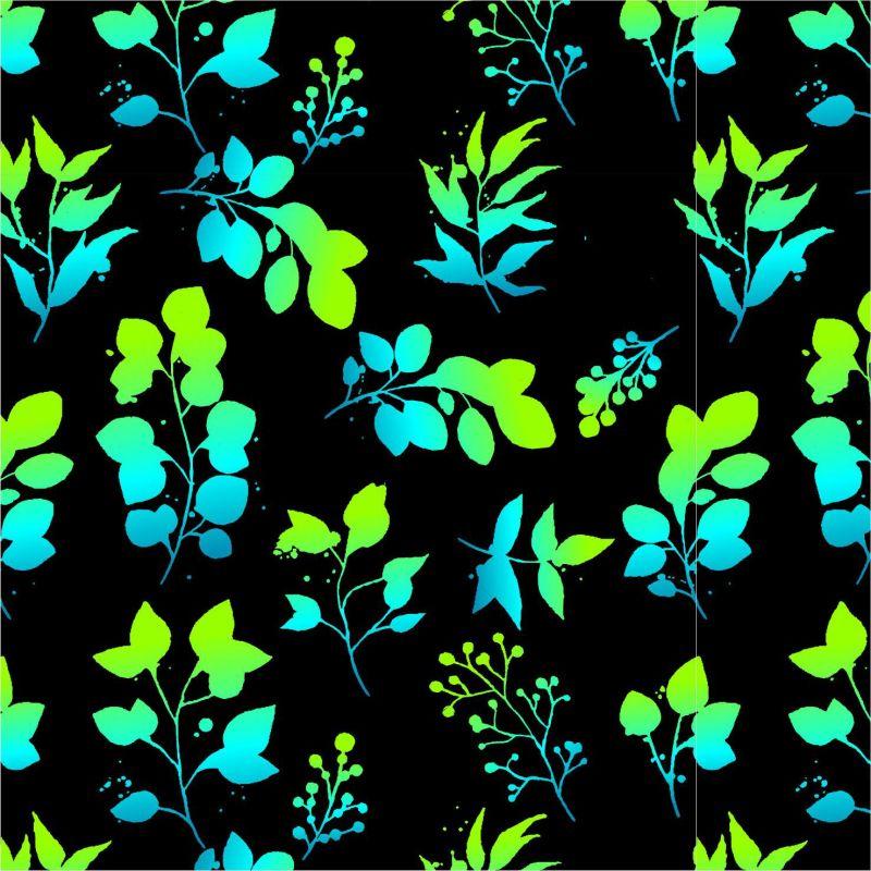 Zeleno-modré eukaliptové lístky-sublimační digitální tisk mavaga design