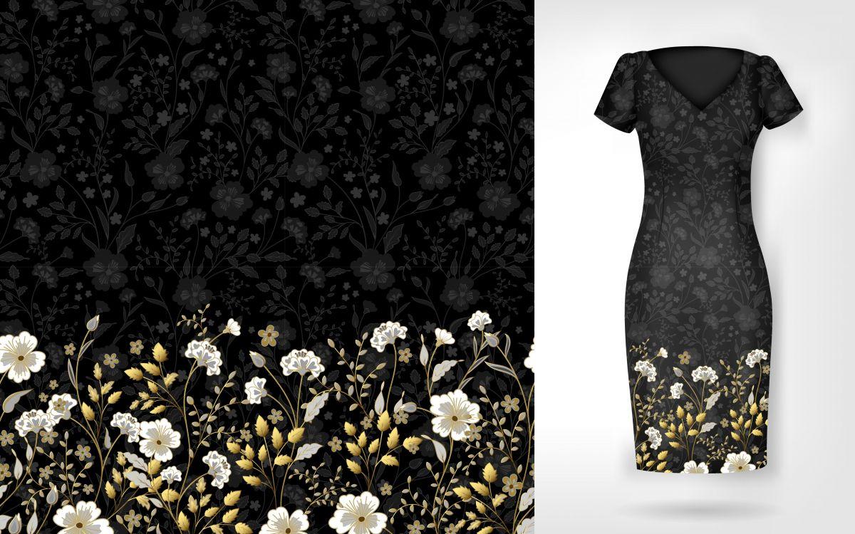 PANEL na šaty / triko/leginy –kytky bordura na černé- varianty mavaga design