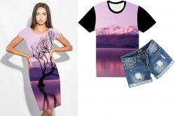 PANEL na šaty / triko/leginy –růžové hory- varianty mavaga design