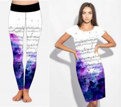 PANEL na šaty / triko/leginy –noty +filová batika- varianty mavaga design